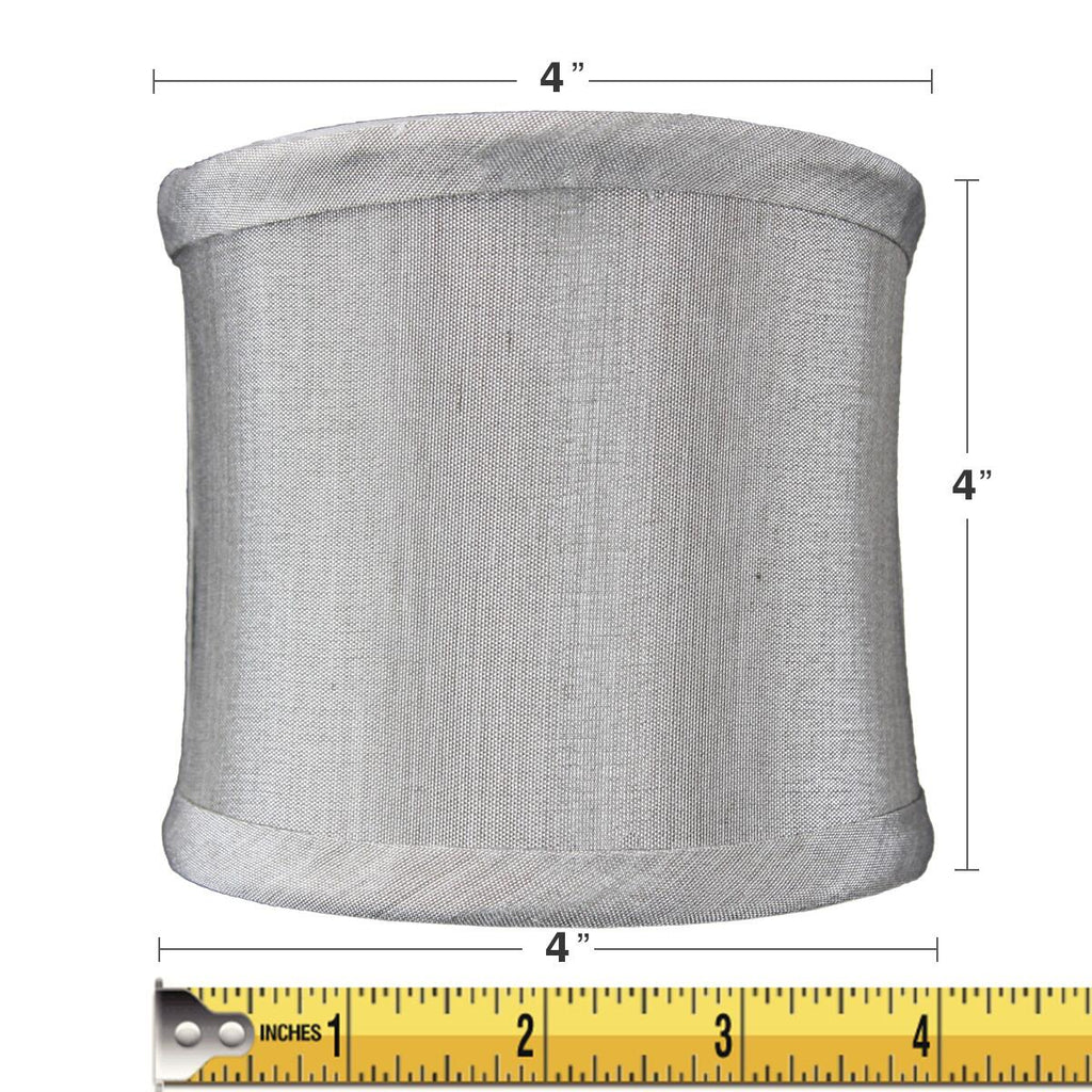 4x4x4 Crisp Shantung Clip-On Sconce  Half-Shell Lamp shade Grey