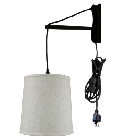 0-001948>MAST Plug-In Wall Mount Pendant, 1 Light Black Cord/Arm, Textured Oatmeal Shade 10x12x12