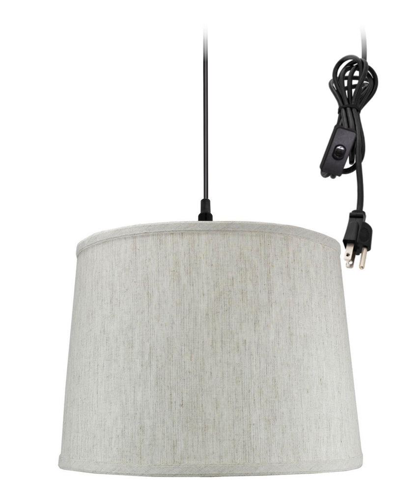 0-002000>Textured Oatmeal 1 Light Swag Plug-In Pendant Hanging Lamp 12x14x10