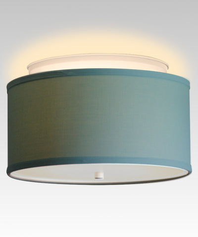 "14"" Moderne Flush Mount Kit -  Island Paradise Blue Drum Shade"