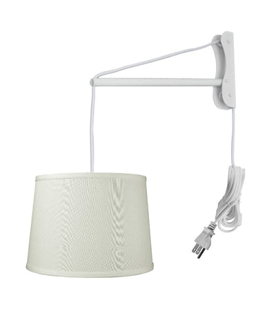 MAST Plug-In Wall Mount Pendant, 1 Light White Cord/Arm, Light Oatmeal Shade 12x14x10