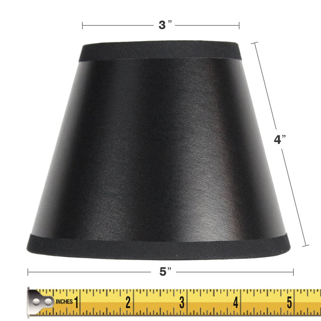 0-002517>3x5x4 Black Parchment Silver-Lined Chandelier Lampshade