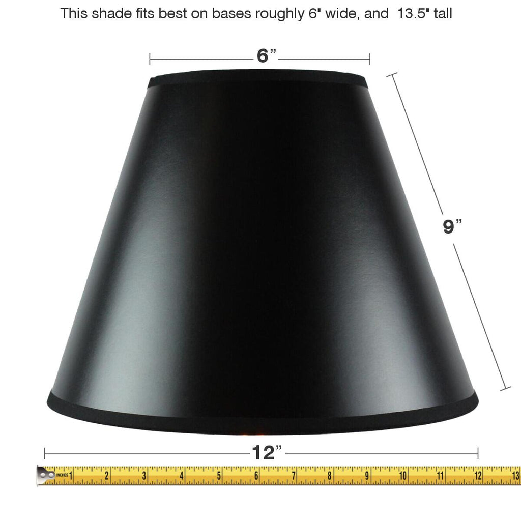 0-000369>6x12x9.5 Slip Uno Fitter Bold Black with True Gold Lining Hard Back Empire Lampshade