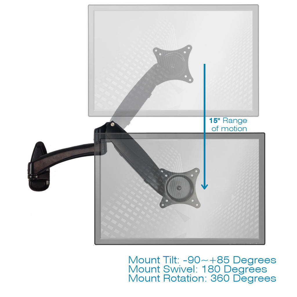 Sit-Stand Wall Mount Monitor Arm: Extended Single Screen Black