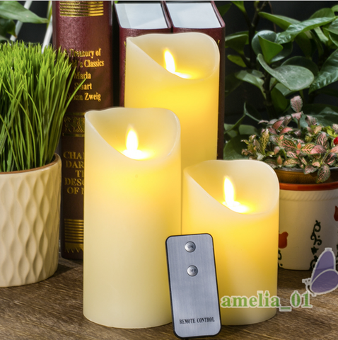 3 Beautiful LED Candles Flameless and flickering With Remote Control - LED Candles - 1