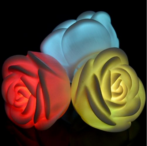 3 Colorful Rose Flower LED Night Light Lamp Candles Romantic Dinner Home Decoration - LED Candles - 1