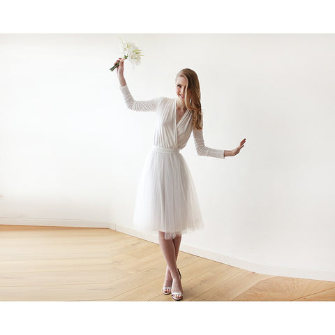 Ivory midi tulle dress with long sleeves