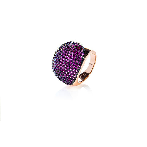 22ct Rose Gold Vermeil Micro pave Ball Ring - Ruby Zircon