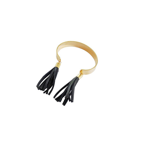 Brass Tassel Cuff - Black Leather
