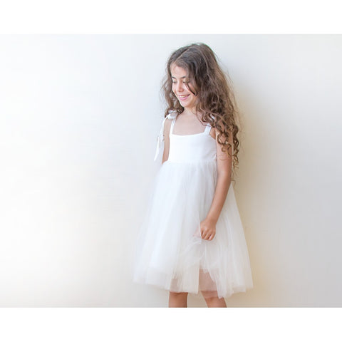 Ivory tie-straps girls tulle dress