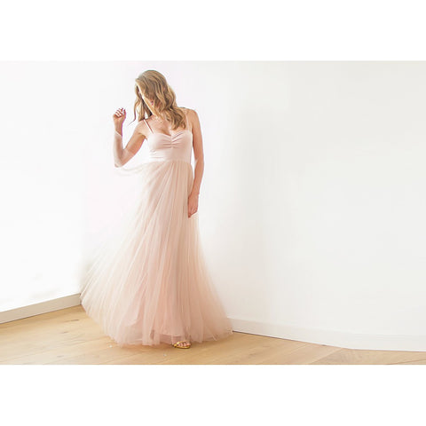 Blush pink maxi tulle ballerina gown,