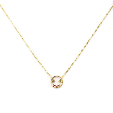 Blushing Smiley Charm Necklace