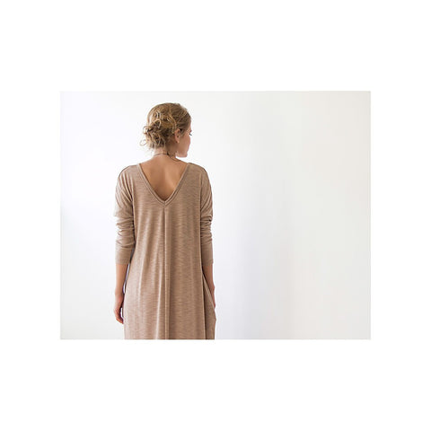 Beige Maxi Knitted dress short sleeves
