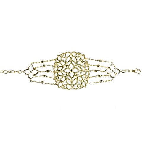 Cassandra Collection 22ct Gold Vermeil Micro pave Filigree Bracelet Peridot