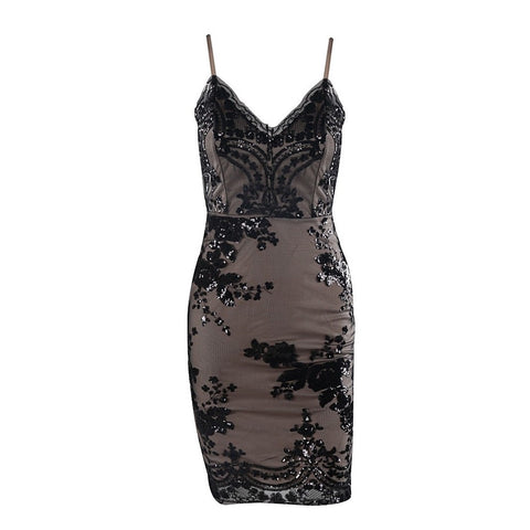 Black Sleeveless Sequin Party Dress