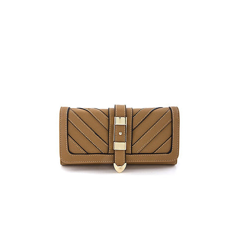 Khaki Chevron Buckle Wallet