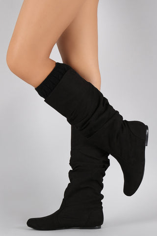 Qupid Suede Slouchy Sweater Knee High Boots