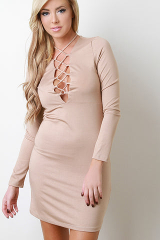 Lace Up Long Sleeve Jersey Dress