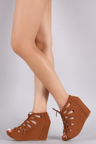 Bamboo Nubuck Teardrop Cutout Lace-Up Wedge