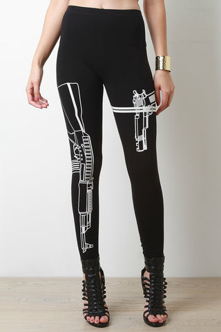 Gun Graphic Stretch Knit Leggings