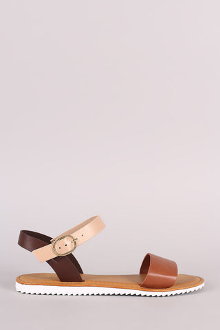 Bamboo Colorblock Ankle Strap Lug Sole Flat Sandal