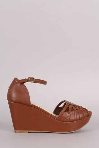 Bamboo Strappy Peep Toe Platform Wedge