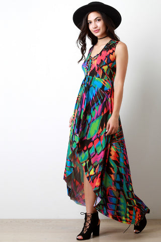 Abstract Neon V-Neck Lace Up Maxi Dress