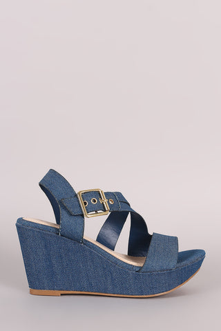 Bamboo Denim Asymmetrical Strappy Platform Wedge