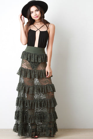 Semi-Sheer Floral Lace Ruffle Tier Maxi Skirt