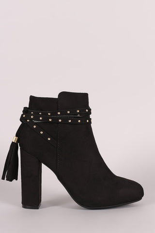 Bamboo Suede Studded Tassel Back Chunky Heeled Ankle Boots