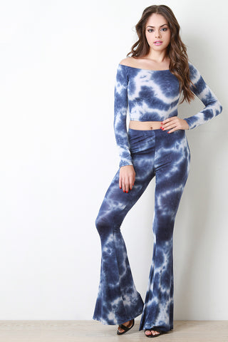 Cloudy Tie Dye High Waisted Flare Pants