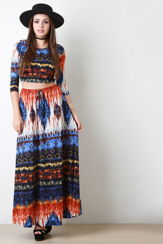 Multi Pattern Slit Maxi Skirt