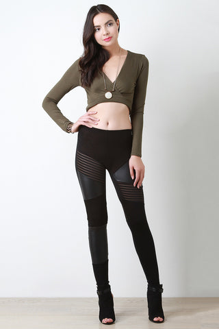 Mid Rise Pieced Inset Leggings