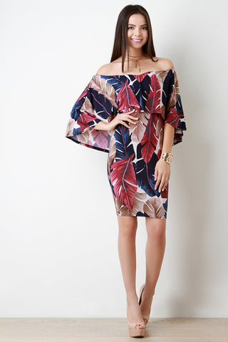 Abstract Leaves Off The Shoulder Ruffle Cape Dress