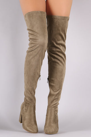 Fitted Suede Block Heeled Over-The-Knee Boots