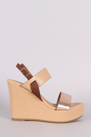 Bamboo Color Block Slingback Platform Wedge