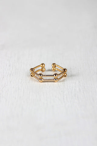 Hexagon Cage Double Wire Ring