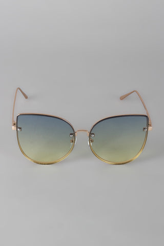 Rimless Ombre Cat Eye Sunglasses
