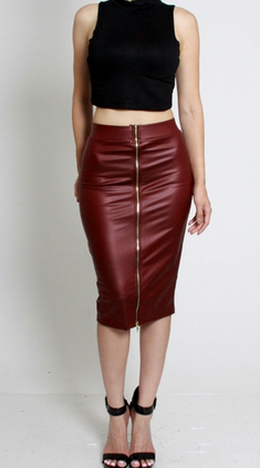 (Burgundy) Faux Leather Skirt
