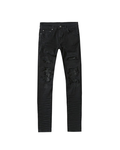 .Black Panelled Denim