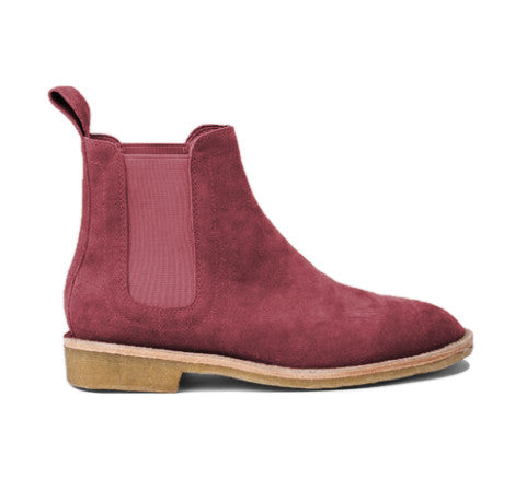 Merlot Lavish Suede Chelsea Boots - STARTED Clothing - 1