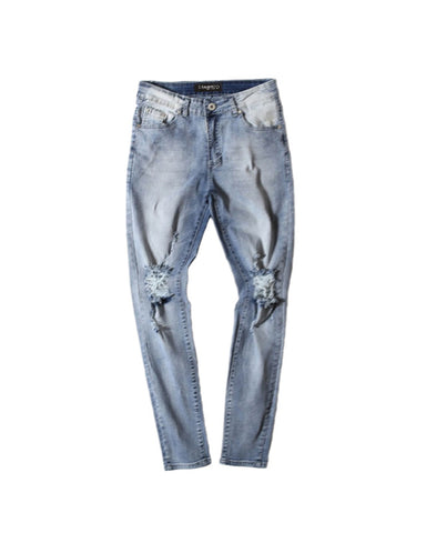 .Skinny Knee-Distressed Denim