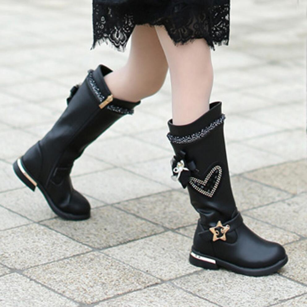 Children\u0027s Winter Boots Lace Flower, High Top Leather Boots for Girls.  Black or Red. Stylish and Practical. Free Shipping to North America. Please