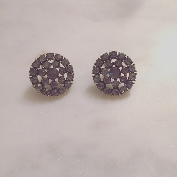 BEJEWELED GREY STUDS - Purple Lily