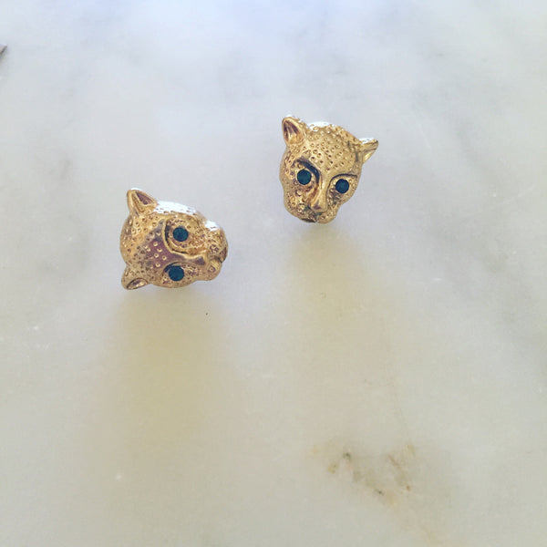 GREEN EYED PANTHER STUDS - Purple Lily