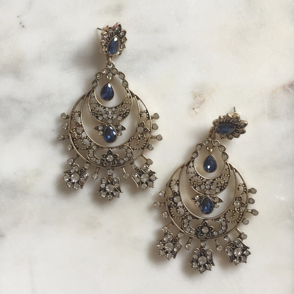 MIDNIGHT RANI CHANDELIER EARRINGS
