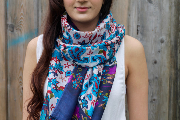 UNDER THE VEIL SILK SCARF - Purple Lily