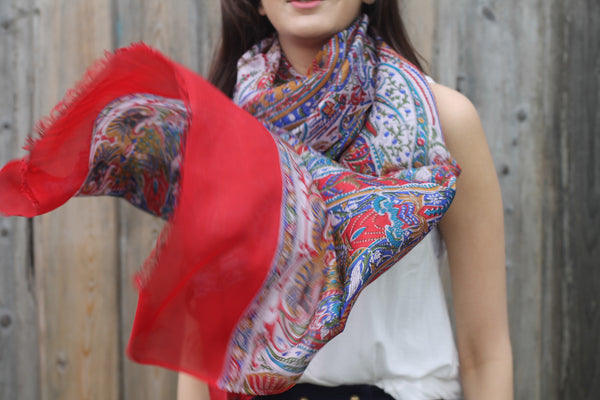 RED ZOYA SILK SCARF - Purple Lily
