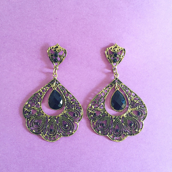 CARVED OVAL COPPER TEARDROPS - Purple Lily