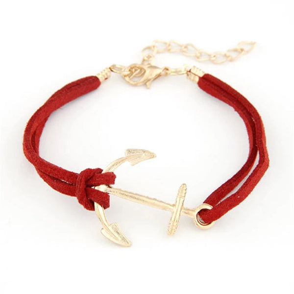 RED GOLD ANCHOR BRACELET - Purple Lily